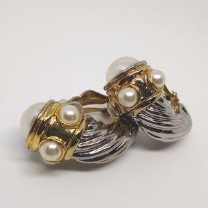 Vintage  2 tone statement earrings